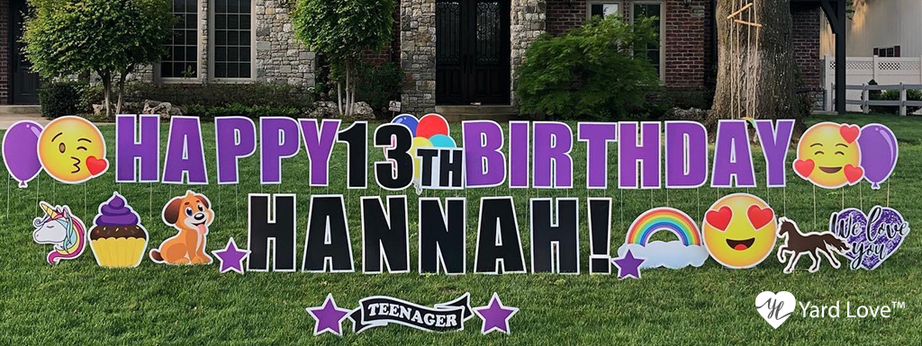 Purple Happy 13th Birthday Hannah Animals, Cupcakes, and Love themed Yard Signs
