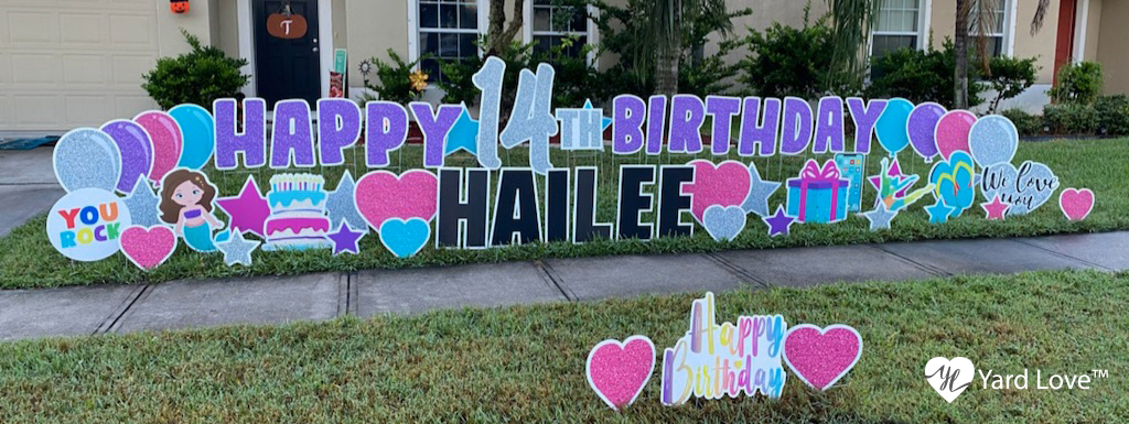 Purple, Blue, and Pink Happy 14th Birthday Hailee Yard Signs with birthday decorations signs