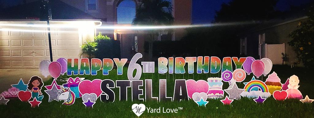 Rainbow Happy 6th Birthday Stella with Pink Princess themed Yard Signs