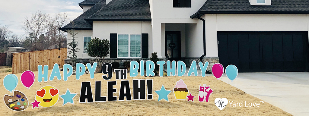 Light Blue Happy 9th Birthday Aleah with Pink and Light Blue Decorations with an artists palette and ballerina slippers Yard Signs