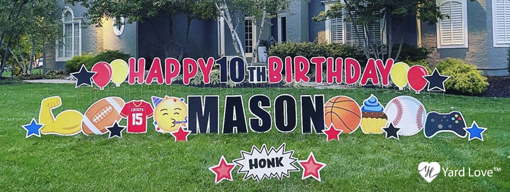 Red Happy 10th Birthday Mason Sports and Games themed Yard Signs